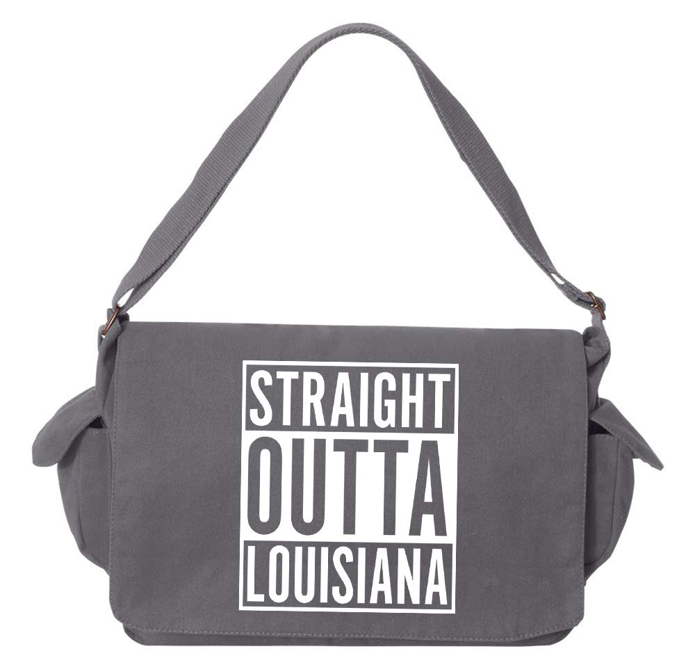 Tenacitee Straight Outta Louisiana Grey Brushed Canvas Messenger Bag