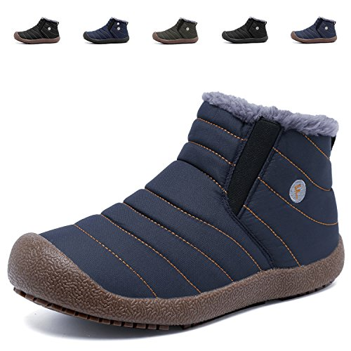 CIOR Mens Anti-Slip Snow Boots With Fully Fur Lined High Top/Low Top.H.Blue-43