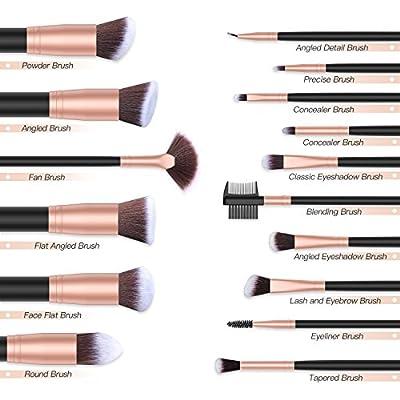 BESTOPE Makeup Brushes 16 PCs Makeup Brush Set Premium Synthetic Foundation Brush Blending Face Powder Blush Concealers Eye Shadows Make Up Brushes Kit (Rose Gold)