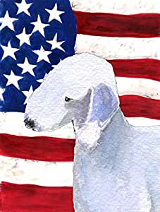 Caroline's Treasures SS4045CHF USA American Flag with Bedlington Terrier Flag Canvas, Large, Multicolor