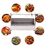 Ridgeyard 28W Stainless Steel Barbeque Grill Roaster Spit Roasting Machine Rotisserie Grill with 46 Inch Spit and Wind Shield (Cooking Surface: 44x16inch)