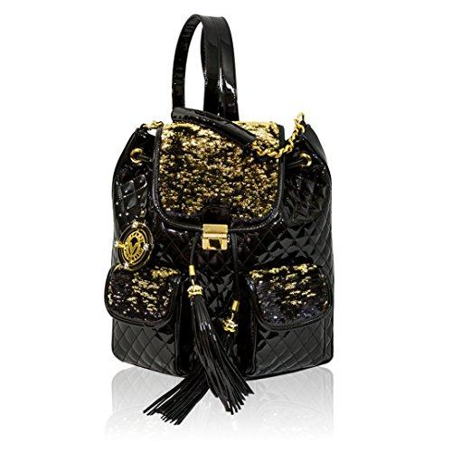 19a5b21bac8f Valentino Orlandi Designer Glamorous Black Quilted Leather Fringe Backpack  Bag