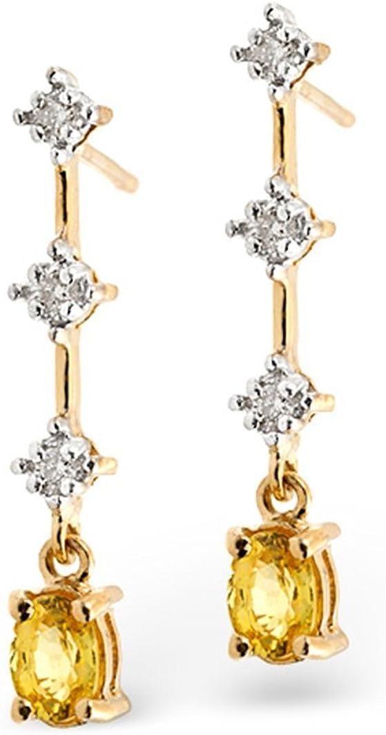 TheDiamondStore - Pendientes de gota de zafiro amarillo genuino y diamante, oro blanco de 9 quilates
