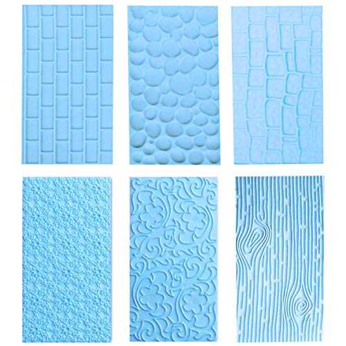 6 Pack Fondant Impression Mat Set Cake Decor Mold Set-Embossed Tree Bark/Flower/Cobblestone Texture Design Sugarcraft Decor Tool for Chocolate Cupcake Topper Wedding Cake