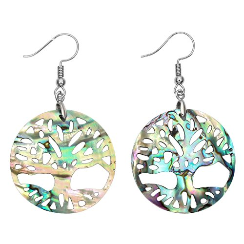 Jovivi Vintage Silver Copper Tree of Life Abalone Shell Stud Earrings ()