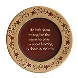 CVHOMEDECO.. Primitive Vintage Dance in the Rain Wood Decorative Plate Display Wooden Plate Home Décor Art, 9-1/2'' Dia.
