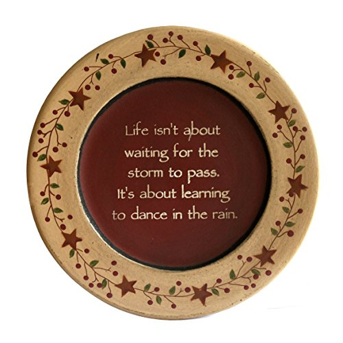 CVHOMEDECO. Primitive Vintage Dance in The Rain Wood Decorative Plate Display Wooden Plate Home Décor Art, 9-3/4