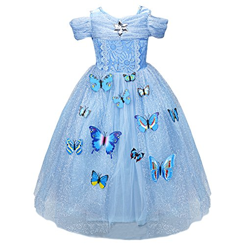 [TiaoBug Girls Princess Butterfly Pins Cosplay Costume Ball Gown Dress (7-8, Blue)] (Holiday Recital Costumes)