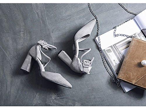 ZHANGJIA Tacones De Tacón Alto De Las Mujeres Y Verano Rojo Vendas, Chicas, Solo Los Zapatos, Zapatos De Punta, Hollow Elegantes Zapatos, Zapatos Grises. Khaki