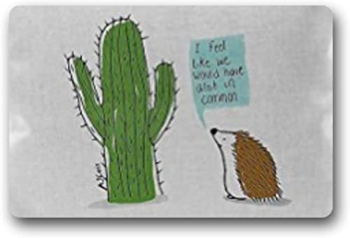 Bernie Gresham Cactus and Hedgehog Non-slip door mat Custom Doormat Indoor Outdoor Personalized Doormat 18 x 30
