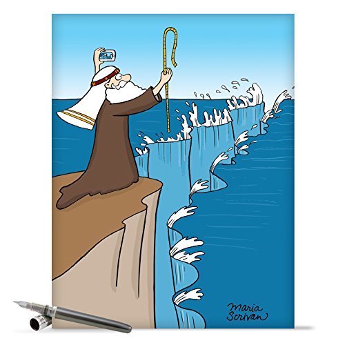 J9668 Jumbo Funny Birthday Card: Moses Selfie With Envelope (Extra Large Version: 8.5'' x 11'')