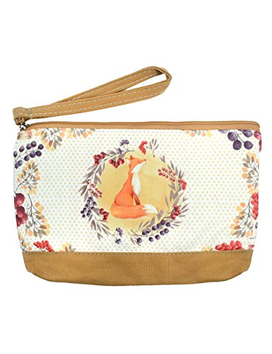 (POPUCT Women's Canvas Coin Purse Phone Pouch Cosmetic Bag,Zippered Wristlets Bag(fox))