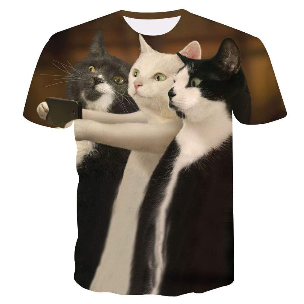 Zackate Mens Lovely Cat Printed Short Sleeve T-Shirts Casual Cute Printing Tees Sweatshirts Brown