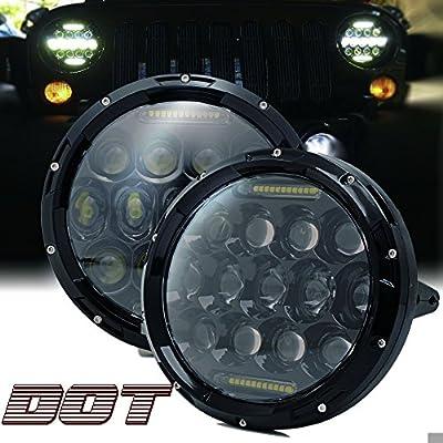 "TURBOSII DOT Approved Pair 75W 7""Inch Round LED Headlights with White DRL Hi/Lo Beam For Jeep Wrangler CJ-5 CJ-7 1997-2017 TJ LJ JK JKU Rubicon Sahara Hummer H1 H2 Toyota Land Cruiser Dodge Dakota"