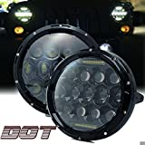 TURBOSII DOT Approved Pair 75W 7''Inch Round LED Headlights with White DRL Hi/Lo Beam For Jeep Wrangler CJ-5 CJ-7 1997-2017 TJ LJ JK JKU Rubicon Sahara Hummer H1 H2 Toyota Land Cruiser Dodge Dakota