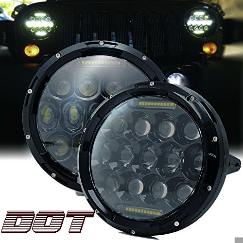 TURBOSII DOT Approved Pair 75W 7''Inch Round LED Headlights with White DRL Hi/Lo Beam For Jeep Wrangler CJ-5 CJ-7 1997-2017 TJ LJ JK JKU Rubicon Sahara Hummer H1 H2 Toyota Land Cruiser Dodge Dakota by TURBOSII