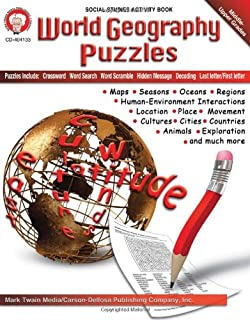 world geography puzzles grades 6 12 - Geography Coloring Book
