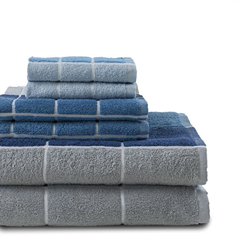 - Revere Mills Checkmate 6 Piece 100% Cotton Yarn Dyed Towel Set, Blue