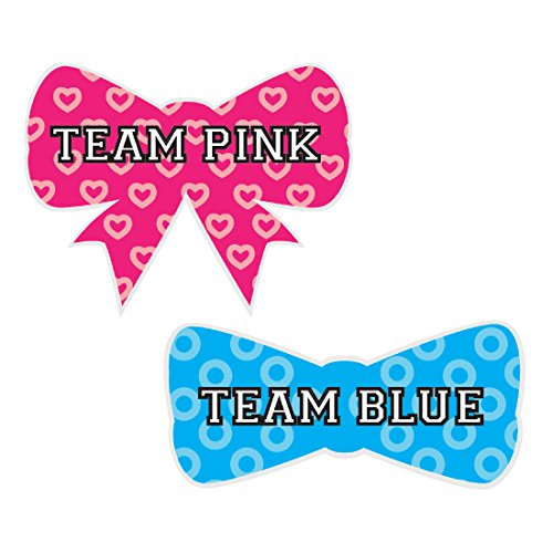 Die Cut Team Pink Team Blue Gender Reveal Baby Shower Party, Bow and Bow Tie Labels Stickers, Team Pink Team Blue, 40-pack, For Themed Party Favors, Gifts, Decorations (Cuts Hat Party Die)