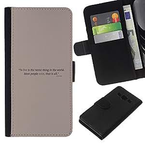 Protector de cuero de la PU de la cubierta del estilo de la carpeta del tirón BY RAYDREAMMM - Samsung Galaxy A3 - Cartel de motivación