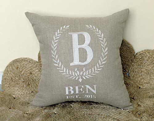 - DecorHouzz Personalized Pillow Embroidered Pillow Birth Decorative Pillow Baby Shower New Born Birthday Gift Customized Date and Name Throw Pillow