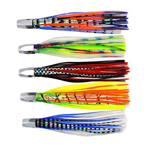 kmucutie Trolling Fishing Lures Marlin Tuna Wahoo Offshore Inshore Game Fishing 8 inch Jet Head Octopus Skirts trolling Lure 5pieces (Best Wahoo Trolling Lures)