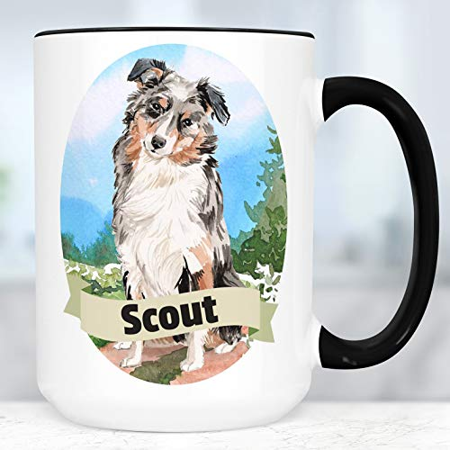 Australian Shepherd Mug Dog - Australian Shepherd Custom Dog Mug   Your Dog's Name on a Cup   Microwave and Dishwasher Safe