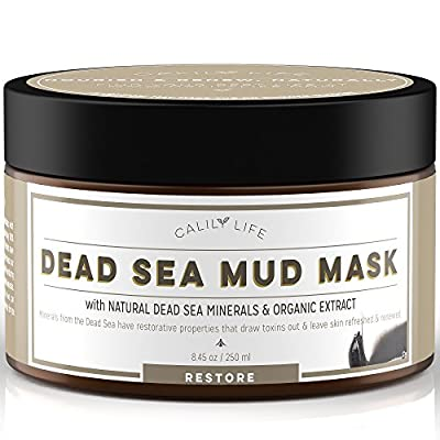 Calily Life Dead Sea Mud Mask Face Moisturizer Premium Treatment for Acne, Oily Skin and Blackheads Organic Deep Pore Cleansing Anti-Aging Formula for Fine Lines and Wrinkles - 8.45 oz from Calily
