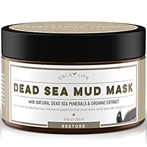 CalilyLife Organic Dead Sea Mud Mask, 8.45 Oz. Organic Deep Skin Cleanser - Face and Body Treatment - Eliminates Acne, Wrinkles, Cellulite Cleanses Pores, Revitalizes Skin with a Youthful Glow