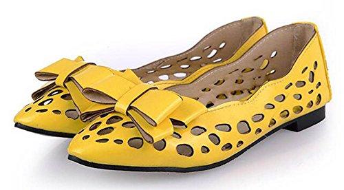 Showhow Womens Confortevole Fiocco Scava Fuori Punta Senza Scarpe Slip On Flats Giallo