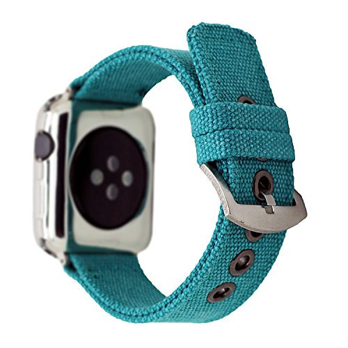 CRAZY PANDA Soft Breathable Canvas Band for Apple Watch, Men/Women Heat Radiating Canvas Strap Compatible Apple Watch All Version - Aquamarine (38mm -
