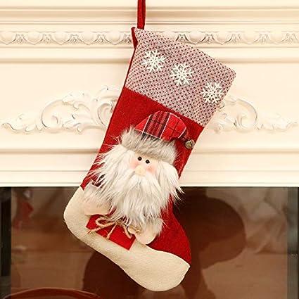 Top Shishang Gran Lujo Personalizado Hechos a Mano Calcetines de Navidad 3D Santa Claus Head/