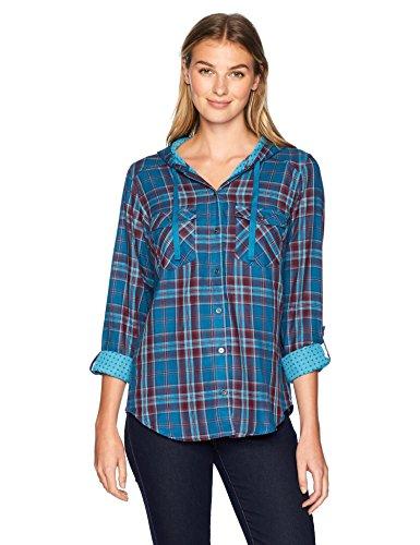 Columbia Women's Times Two Hooded Long Sleeve, Lagoon Plaid, Small (Shirt Cotton Sport Plaid Twill)