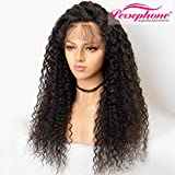 Persephone Pre Plucked 360 Lace Frontal Wig 150 Density Curly Brazilian Remy Full 360 Lace Human Hair Wigs with Baby Hair 360 Wig Human Hair for Black Women 22 Inch Natural Color