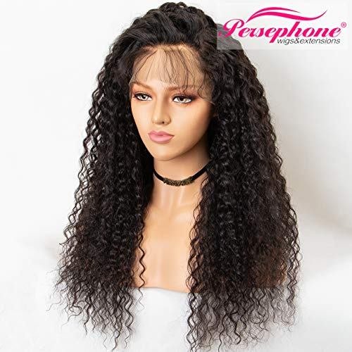 Human Hair Full Wig - Persephone Pre Plucked 360 Lace Frontal Wig 150 Density Curly Brazilian Remy Full 360 Lace Human Hair Wigs with Baby Hair 360 Wig Human Hair for Black Women 16 Inch Natural Color