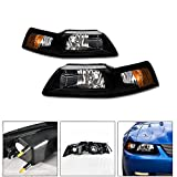 VXMOTOR 1999-2004 Ford Mustang Factory Crystal Style Black Head Lights Headlights Signal Light Headlamps Lamp Amber NB