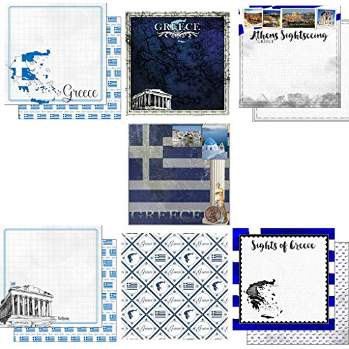 Custom Bundle Set of 7 Greece Themed Travel and Vacation 12