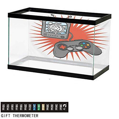 wwwhsl Aquarium Background,Boys Room,Video Games Themed Design in Retro Style Gamepad Console Entertainment,Orange Grey White Fish Tank Backdrop 36