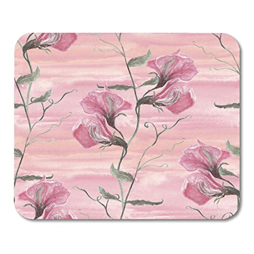 Pea Sweet Red Designs (Nakamela Mouse Pads Drawn Green Beautiful Watercolor with Sweet Pea Flowers on Pink Splash Wash Hand White Botanical Gentle Mouse mats 9.5