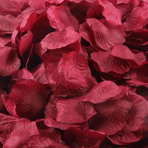 Oksale® 1000pcs Colorful Silk Rose Petals Artificial Flower Wedding Favor Bridal Shower Aisle Vase Decor Scaters Confetti (Wine)