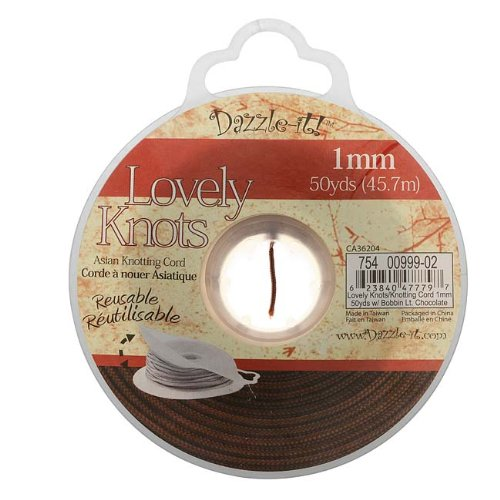 Dazzle-It! Lovely Knots - Asian Knotting Cord 1mm Thick - Lt Chocolate (50 Yards On Bobbin)