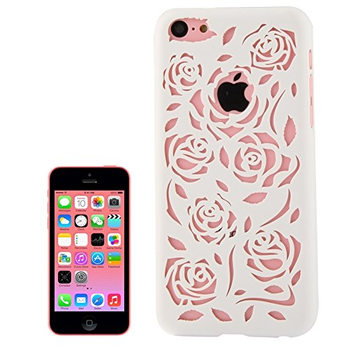 Mobile protection Caja de plástico rosa tallada hueca para iPhone 5C ( Color : Watermelon Red ) White