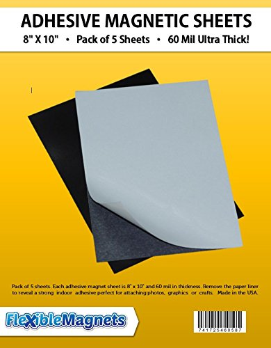 5 Magnetic Sheets of 8' x 10' Adhesive 60 mil Magnet Ultra Thick