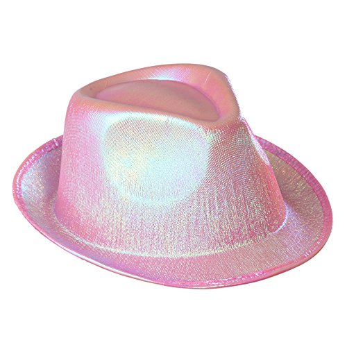 Pearled Pink Fedora Hat Headware Accessory For 20s 30s 50s Gangster Mob Fancy (1920s Gangster Fashion)