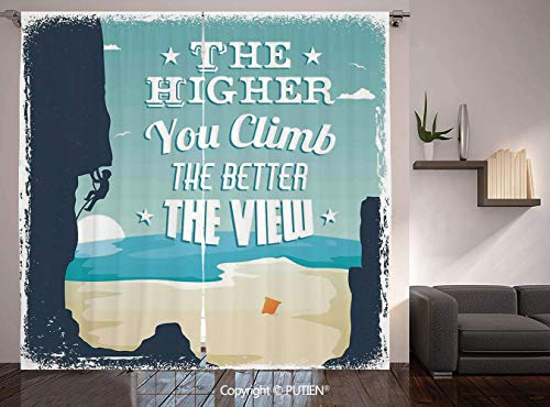 Thermal Insulated Blackout Window Curtain [ Quote,The Higher You Climb the Better the View Seashore and Mountain Climber Image Print,Blue Beige ] for Living Room Bedroom Dorm Room Classroom Kitchen Ca