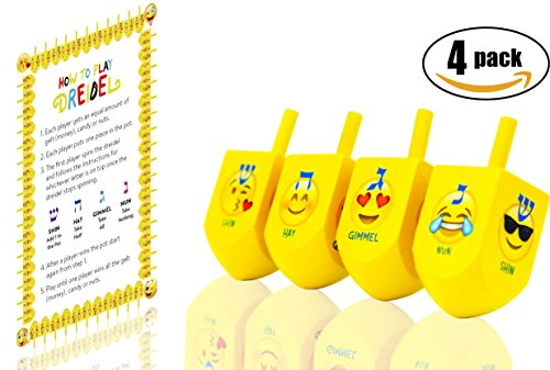 Hanukkah Emoji Dreidels! With Hebrew & English Transliteration (4-Pack) - Instructions Included! by The Dreidel Company