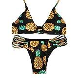 Sherry007 Womens Printed Cut Out Bikini Halter Racerback Swimsuit Beachwear, 228Black, Large
