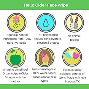 Organic Apple Cider Vinegar Acne Treatment Face Wipes - 100% Natural Tea Tree+Rose+Chamomile+Geranium Hydrosols. Balance pH, Toner, Cleanser, Moisturizer, No Oils, 25 Wipes by Hello Cider