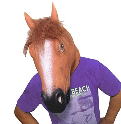 Brown Horse Head - Youtumall Rubber Latex Brown Horse Head Mask For Party Halloween Costume (Brown Horse)