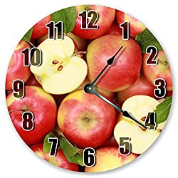 10.5 STACK OF RED APPLES Clock - Fruit Clock - Large 10.5 Wall Clock - Home Décor Clock